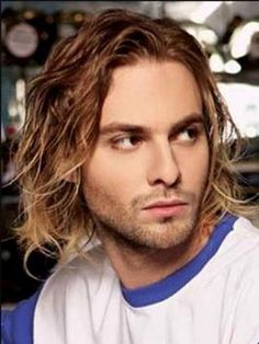 Men's long wavy hairstyle. Let's call it the Cobain