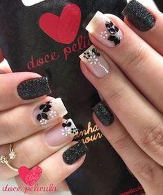 Black and white nails Toe Nail Art, Toe Nails, Acrylic Nails, Fabulous Nails, Perfect Nails, Pretty Nail Designs, Nail Art Designs, Nail Decorations, French Nails