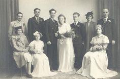 Vintage wedding group studio photograph, circa 1950's. Photo by Jas. Dickinson, 43 High Street, Wallsend.