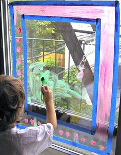 Window Painting: Rainy Day Activity When the weather is cold or raining try this fun indoor art project and let your kids color the windows with easily washable paint. Rainy Day Activities For Kids, Rainy Day Fun, Toddler Activities, Fun Activities, Activity Ideas, Christmas Activities, Preschool Ideas, Preschool Crafts, Rainy Days