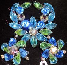 KRAMER AMazing Blue & Green Givre Rhinestone Pin Earring Set