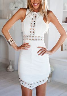 White Sleeveless Asymmetrical Dress ,  - Lookbook Store, Lookbook Store  - 1