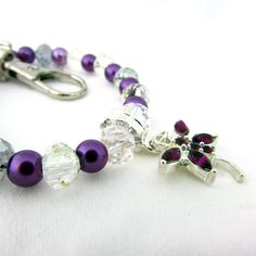 Purple Dragonfly Keychain Bracelet Dainty by EarthlieTreasures