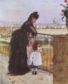 I love this painting of what has to be mother and daughter with Paris and Sacre Coeur in the background. Can't you just feel the love and connection between them?