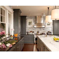 Gray and white kitchen, so bright!