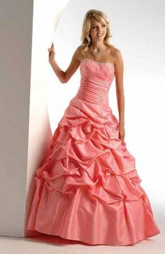 Fitted Taffeta Strapless Ball Gown Prom Dress