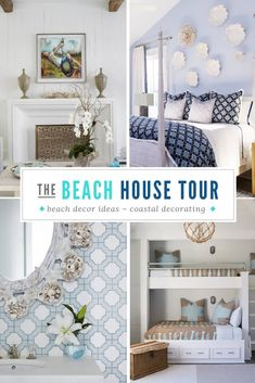 WaterColor Florida Beach Home Decor in this gorgeous beach front community. For this tour, we are featuring a sophisticated getaway. Beach House Tour, Beach House Decor, Home Decor, Beach Style Mirrors, Beach Dining Room, Watercolor Florida, Bed Cover Sets, Built In Bunks, Cozy Sofa