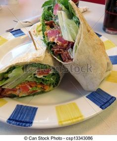 A bacon, lettuce and tomato wrap.