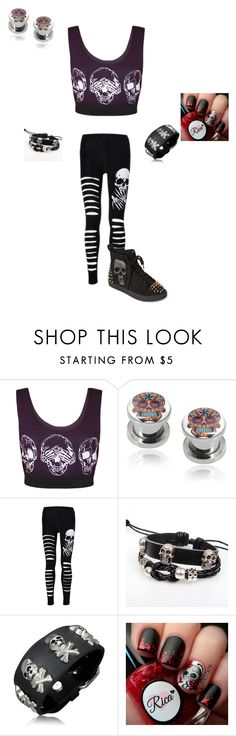 """Skull theme"" by hellokitty-780 on Polyvore featuring WearAll, KINNO, Bling Jewelry and Penny Sue"