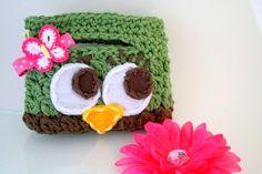 Owl Purse crochet brown green pink