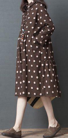 567efa4ca4 Beautiful patchwork Cotton tunic dress Stitches design khaki dotted Art  Dresses shirt dress cottondress . Omychic Linen Dress