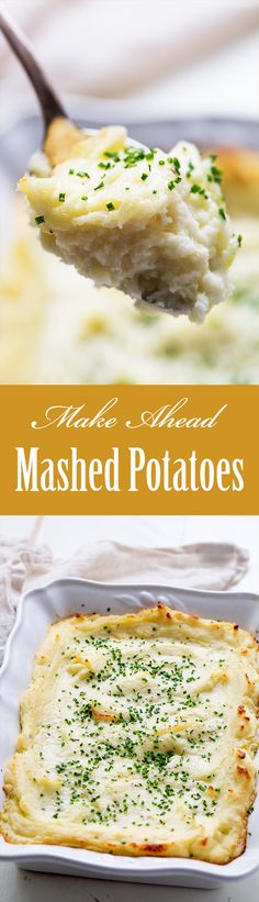 Make Ahead Mashed Potatoes ~ Don't stress over mashed potatoes, make them ahead! So EASY, reheat right before serving. ~ SimplyRecipes.com