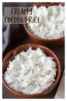 Creamy Coconut Rice Creamy Coconut Rice - a super simple coconut rice recipe that uses only 3 ingredients and takes just 25 minutes. This is a very flavorful side dish for just about any meal! White Rice Recipes, Coconut Recipes, Sweet Coconut Rice Recipe, Simple Rice Recipes, Thai Coconut Rice, Minute Rice Recipes, Easy Recipes, Jasmine Rice Recipes, Eating Clean