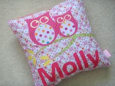 Super cute owl name cushion created by Deborah. #handmade #cushion #babygift #newbaby #owl #cute