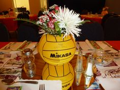 Water Polo Banquet Centerpieces. We used the old balls and just sharpied the lines and name.