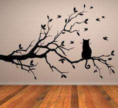 Cat On Long Tree Branch Wall Sticker