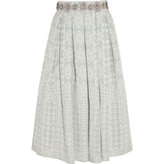 Holly Fulton Embellished silk-crepe skirt ($505) ❤ liked on Polyvore featuring skirts, sky blue, holly fulton, calf length skirts, embellished midi skirt, mid-calf skirt and midi skirt