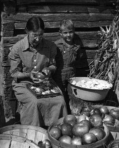 Appalachian woman peels apples before making apple butter.                                  Earl Palmer,            photographer