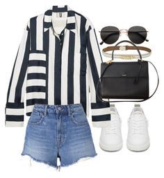 """Untitled #21634"" by florencia95 ❤ liked on Polyvore featuring Golden Goose, Moschino, Topshop Unique, T By Alexander Wang, Yves Saint Laurent and H&M"