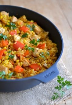 Paella, Food To Make, Curry, Dinner Recipes, Food And Drink, Rice, Tasty, Meat, Chicken