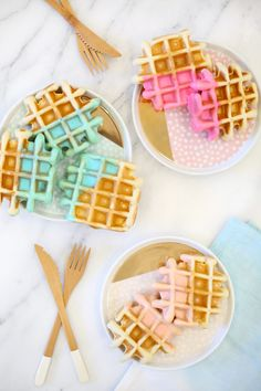 Color dipped waffle recipe | lovelyindeed.com