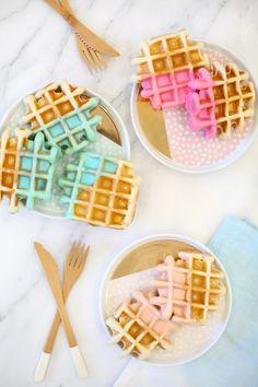 Color dipped waffle recipe | lovelyindeed.com