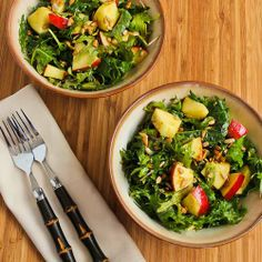 Recipe for Raw Baby Kale Salad with Apples, Sunflower Seeds, and Lemon-Dijon Vinaigrette [from Kalyn's Kitchen] #GlutenFree  #SouthBeachDiet