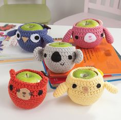 Cute Crochet Apple Cozies, via Flickr. I don't know why anyone needs a apple cozy but they are so cute!