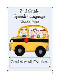 2nd Grade Speech and Language Checklists from All Y'all Need on TpT