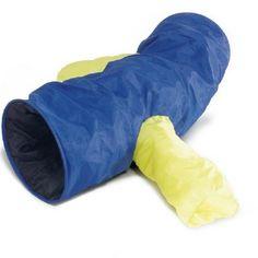 Een nylon speeltunnel XL met 2 armen. Uw kat zal er dol op zijn. Lekker om zich in te verstoppen of om een dutje in te doen. Kleur: blauw, geel.
