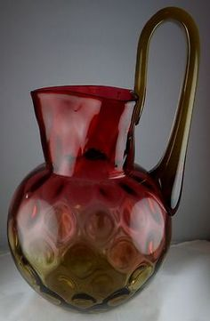 RARE MT Washington Art Glass Large Amberina Pitcher with Unusual Handle Super | eBay