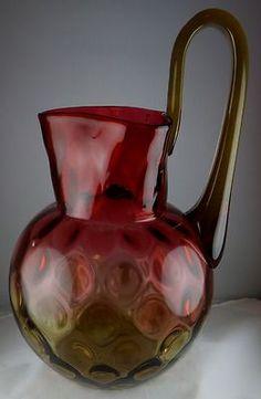 RARE MT Washington Art Glass Large Amberina Pitcher with Unusual Handle Super   eBay