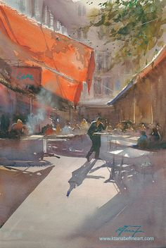 """""""Cafe, Izmir, Turkey I"""" watercolor by Keiko Tanabe"""