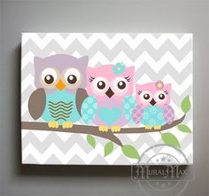 """Canvas Prints For Baby Room girls wall art  owl canvas art, baby nursery owl canvas set, 10""""x"""