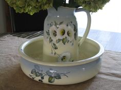 French Enamelware Pitcher and Bowl Vintage 1930s by paprikarose