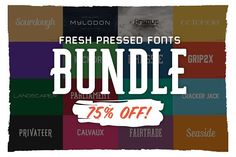 Fresh Pressed Fonts Bundle-75% OFF! by Fresh Pressed Fonts on @creativemarket
