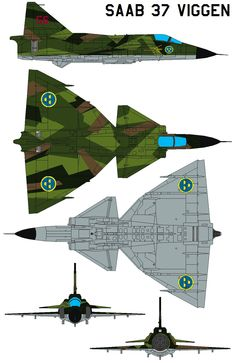 The Saab 37 Viggen (English: Thunderbolt)[1] was a Swedish single-seat, single-engine, short-medium range fighter aircraft and attack aircraft, manufactured between 1970 and 1990. Several variants ...