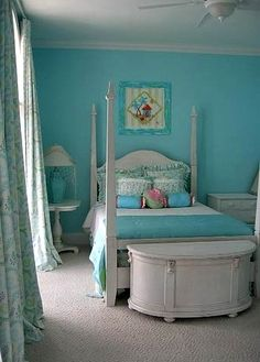 Aqua girls bedroom color scheme - love the halfround chest at the foot of the bed