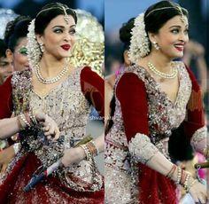 Aishwarya Lehenga Designs, Saree Blouse Designs, Dress Designs, Half Saree Lehenga, Saree Look, Bollywood Actors, Bollywood Fashion, Wedding Reception Hairstyles, Indian Braids