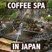 Coffee spa in Japan - amusement park onsen in Hakone. In addition to your standard Japanese hot spring, they also have a coffee onsen, a green tea, a wine, a ramen, and a sake one.