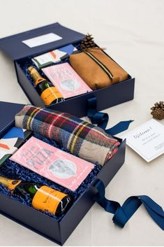 Best Corporate Gifts Ideas CORPORATE EVENT GIFT BOX// Navy and orange holiday inspired custom corporate event gift boxes welcome professionals to NYC, Gift Box For Men, Diy Gift Box, Gifts For Kids, Custom Gift Boxes, Diy Box, Corporate Gifts, Corporate Events, Corporate Business, Corporate Gift Baskets