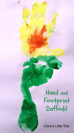 Fun spring craft for toddlers and preschoolers. Hand and footprint daffodil. Would also make a great idea of St David's Day crafts.