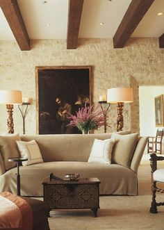 Love this Old World style treatment of the stone upon the walls and wish HGTV would come finish my basement in this manner. Candace Olson PLEASE come : )