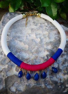 Navy Statement  Rope Necklace / Rope Necklace / Statement Necklace / Summer necklace/ Beaded rope necklace/Bohemian necklace