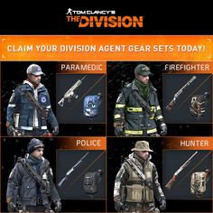 The Division - Agent Gear Set; what Firefighter in turnout gear wears a ball cap? He should be outfitted with his helmet. THEN I would buy it. The Division Cosplay, The Division Gear, Tom Clancy The Division, Airsoft Helmet, Future Soldier, Pokemon, Military Pictures, Post Apocalypse, Toy Soldiers