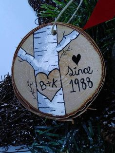 Valentines gift valentines ornament gift for him wood slice ornament couples gift personalized gift anniversary gift Wood Ornaments, Ornament Crafts, Diy Christmas Ornaments, Holiday Crafts, Christmas Decorations, Homemade Ornaments, Wood Slice Crafts, Wood Burning Crafts, Wood Burning Art