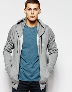 """Hoodie by Element Fleece-back sweat Drawstring hood Logo detail Zip opening Side pouch pockets Thumb holes Fitted cuff and hem Regular fit - true to size Machine wash 60% Cotton, 40% Polyester Our model wears a size Medium and is 188cm/6'2"""" tall"""