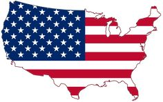 """Map showing Mainland USA (""""lower 48"""") with a superimposed US flag."""