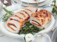 Tricolore Stuffed Pork recipe from Giada De Laurentiis via Food Network Giada Recipes, Pork Recipes, Dinner Recipes, Yummy Recipes, Dessert Recipes, Meatball Recipes, Simple Recipes, Sausage Recipes, Dessert Ideas