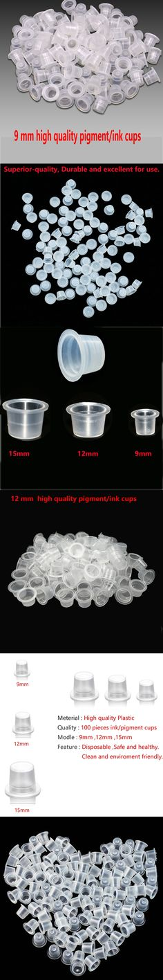100 pieces 9MM 12MM 15MM Disposable Small Pigment Container Plastic Holder Tattoo Accessories Supplies Of Body Art Ink Cup